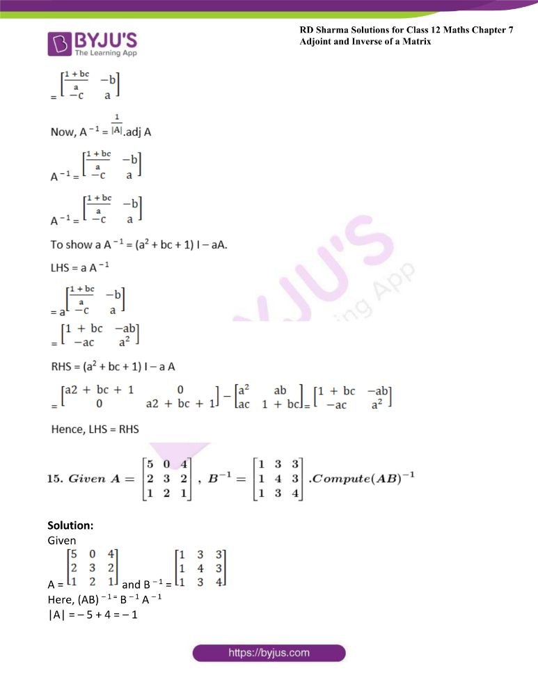 RD Sharma Class 12 Maths Solutions Chapter 7 Adjoint And Inverse Of A Matrix 36