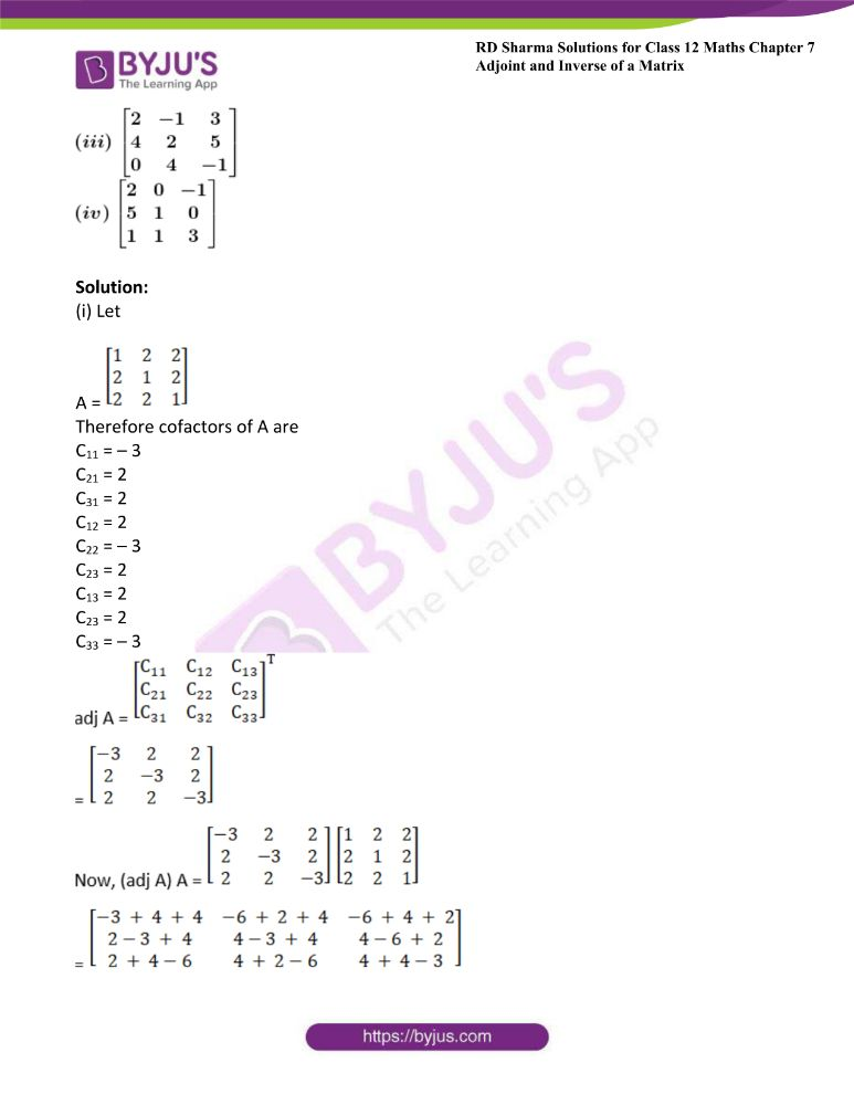 RD Sharma Class 12 Maths Solutions Chapter 7 Adjoint And Inverse Of A Matrix 5