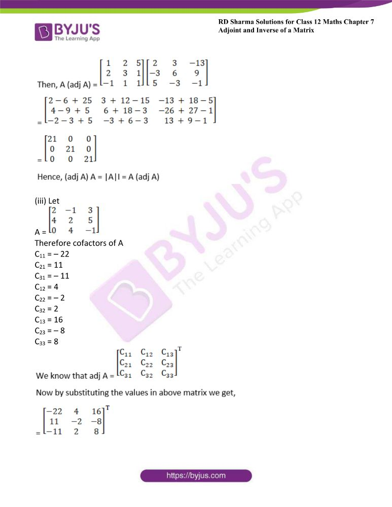 RD Sharma Class 12 Maths Solutions Chapter 7 Adjoint And Inverse Of A Matrix 8