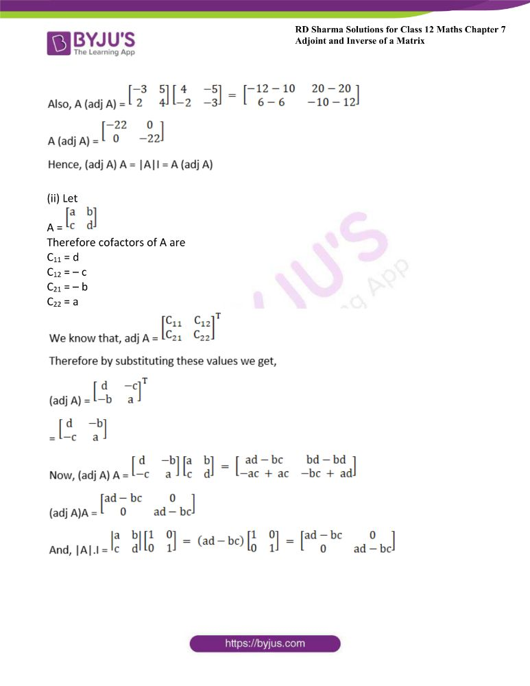 RD Sharma Class 12 Maths Solutions Chapter 7 Adjoint And Inverse Of A Matrix Exercise 7.1 1