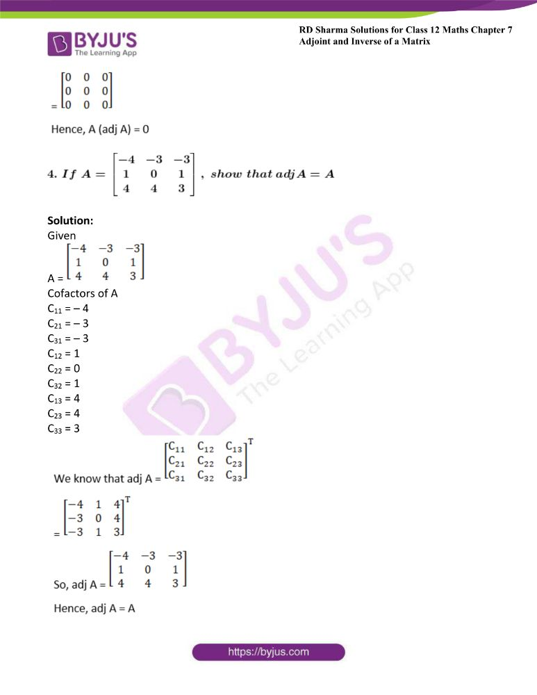 RD Sharma Class 12 Maths Solutions Chapter 7 Adjoint And Inverse Of A Matrix Exercise 7.1 13