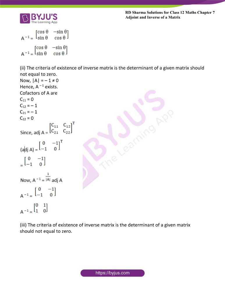 RD Sharma Class 12 Maths Solutions Chapter 7 Adjoint And Inverse Of A Matrix Exercise 7.1 17