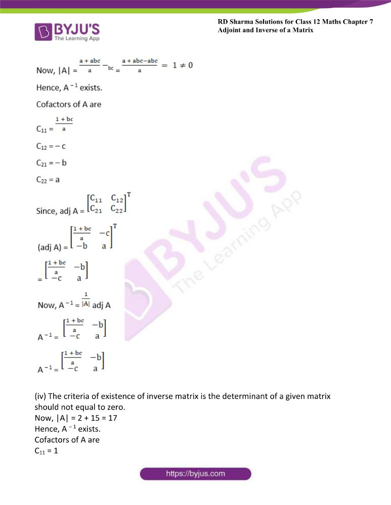 RD Sharma Class 12 Maths Solutions Chapter 7 Adjoint And Inverse Of A Matrix Exercise 7.1 18