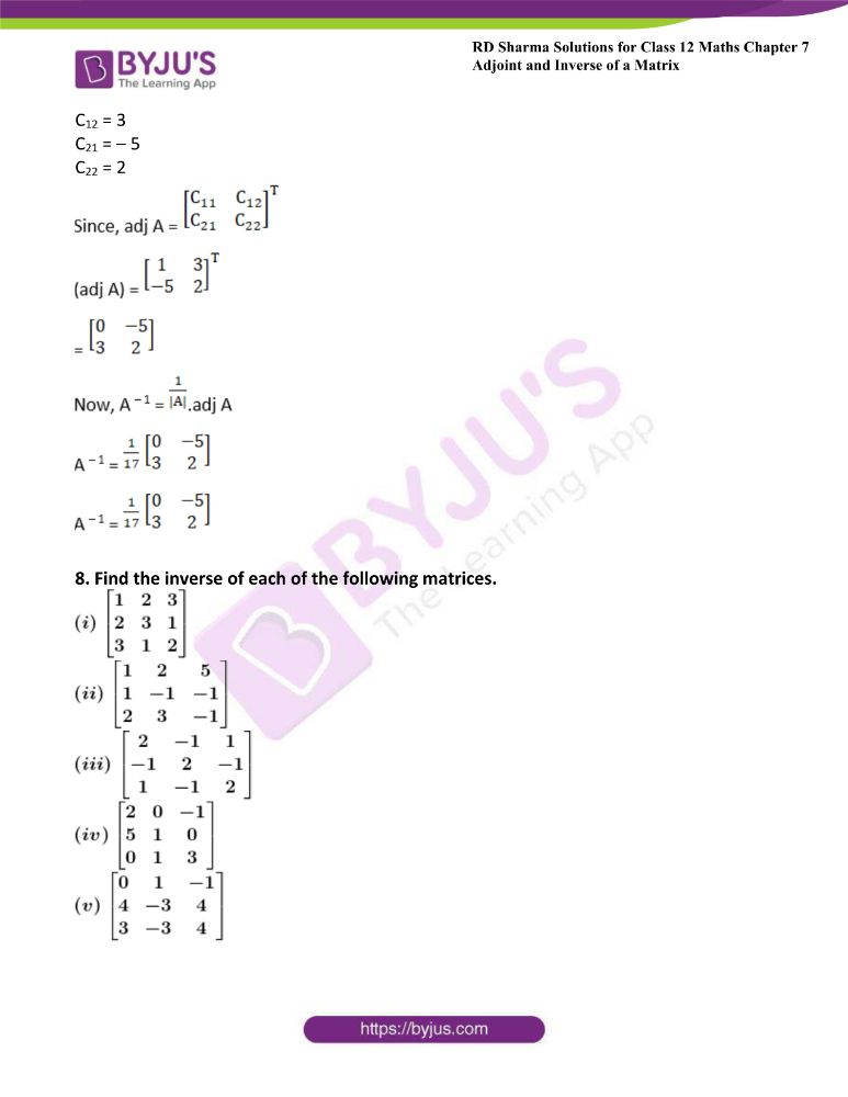 RD Sharma Class 12 Maths Solutions Chapter 7 Adjoint And Inverse Of A Matrix Exercise 7.1 19