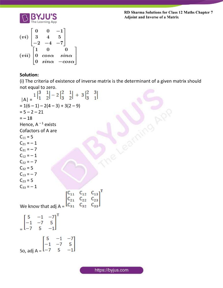 RD Sharma Class 12 Maths Solutions Chapter 7 Adjoint And Inverse Of A Matrix Exercise 7.1 20