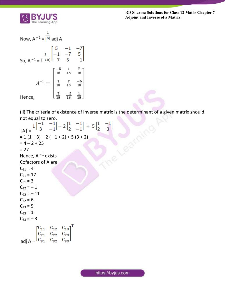 RD Sharma Class 12 Maths Solutions Chapter 7 Adjoint And Inverse Of A Matrix Exercise 7.1 21