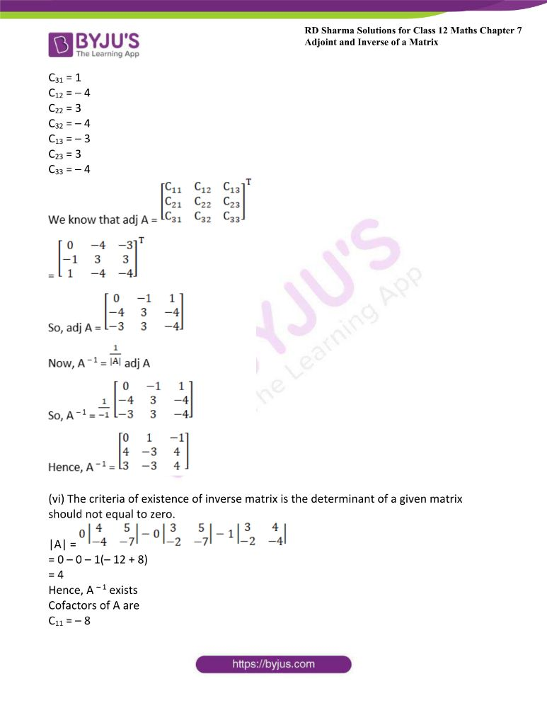 RD Sharma Class 12 Maths Solutions Chapter 7 Adjoint And Inverse Of A Matrix Exercise 7.1 25