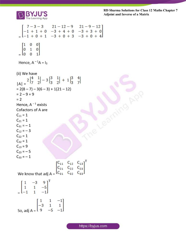 RD Sharma Class 12 Maths Solutions Chapter 7 Adjoint And Inverse Of A Matrix Exercise 7.1 29