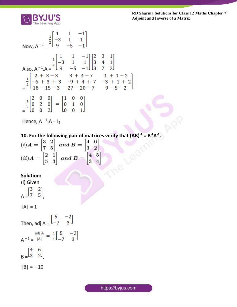 RD Sharma Class 12 Maths Solutions Chapter 7 Adjoint And Inverse Of A Matrix Exercise 7.1 30