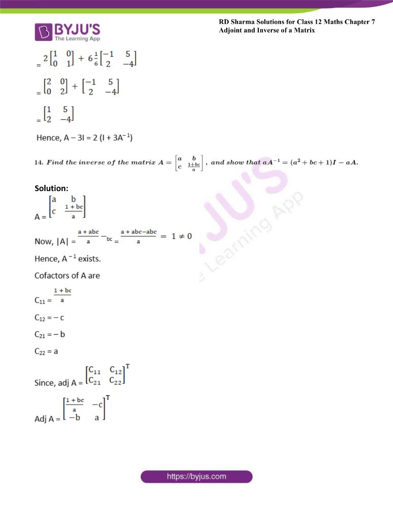 RD Sharma Class 12 Maths Solutions Chapter 7 Adjoint And Inverse Of A Matrix Exercise 7.1 35