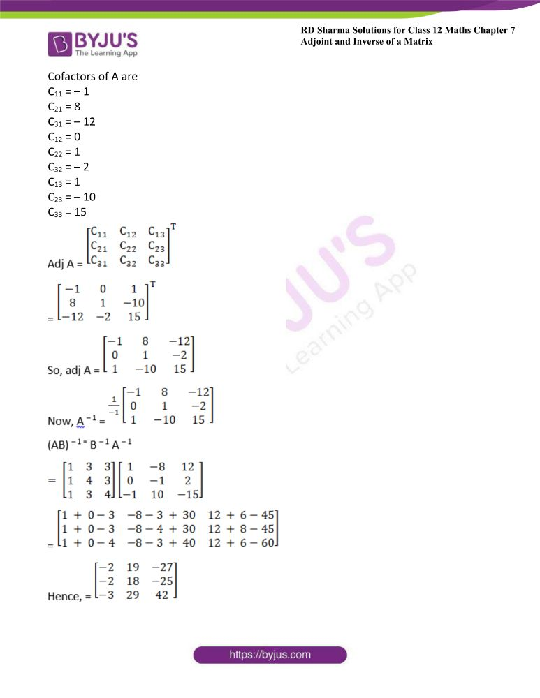 RD Sharma Class 12 Maths Solutions Chapter 7 Adjoint And Inverse Of A Matrix Exercise 7.1 37