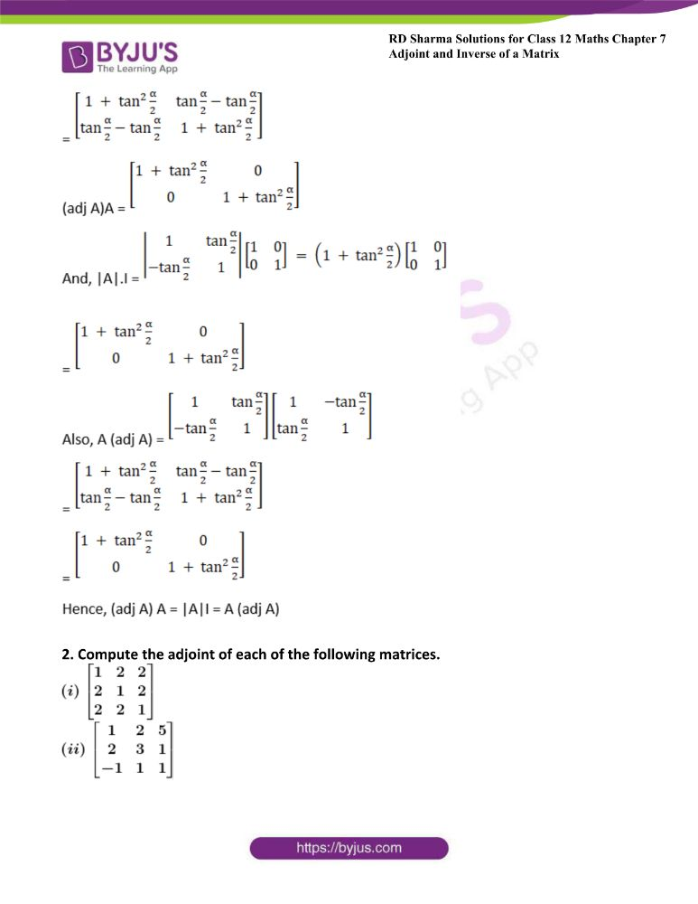 RD Sharma Class 12 Maths Solutions Chapter 7 Adjoint And Inverse Of A Matrix Exercise 7.1 4