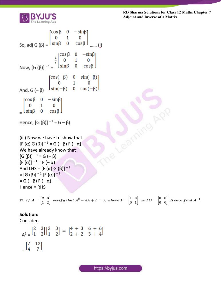 RD Sharma Class 12 Maths Solutions Chapter 7 Adjoint And Inverse Of A Matrix Exercise 7.1 40