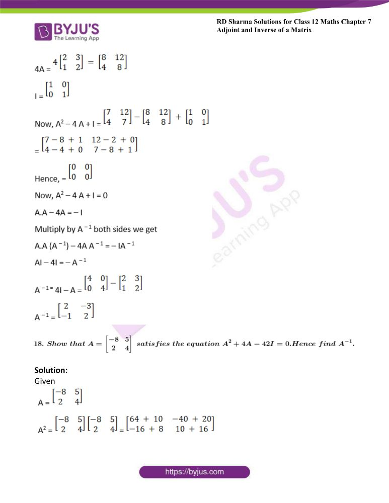 RD Sharma Class 12 Maths Solutions Chapter 7 Adjoint And Inverse Of A Matrix Exercise 7.1 41