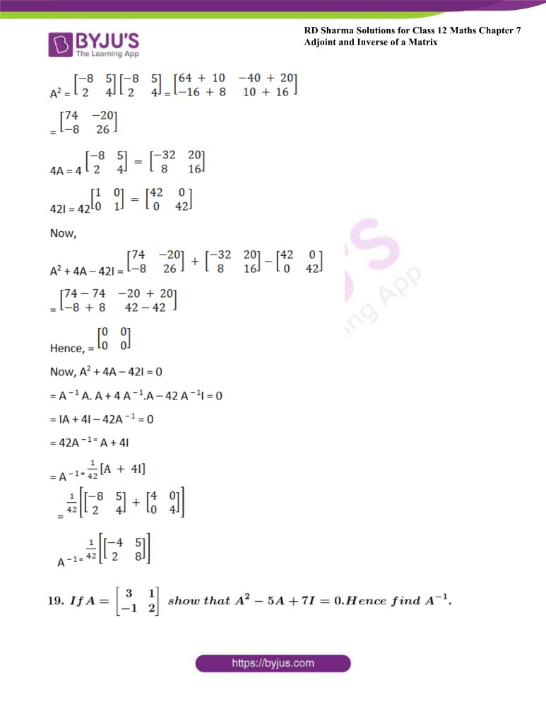RD Sharma Class 12 Maths Solutions Chapter 7 Adjoint And Inverse Of A Matrix Exercise 7.1 42