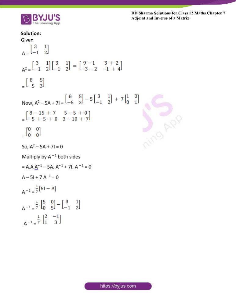 RD Sharma Class 12 Maths Solutions Chapter 7 Adjoint And Inverse Of A Matrix Exercise 7.1 43