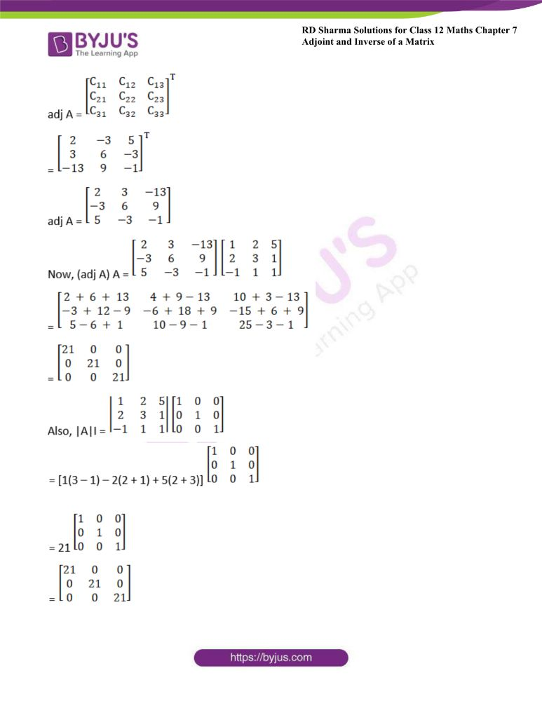 RD Sharma Class 12 Maths Solutions Chapter 7 Adjoint And Inverse Of A Matrix Exercise 7.1 7