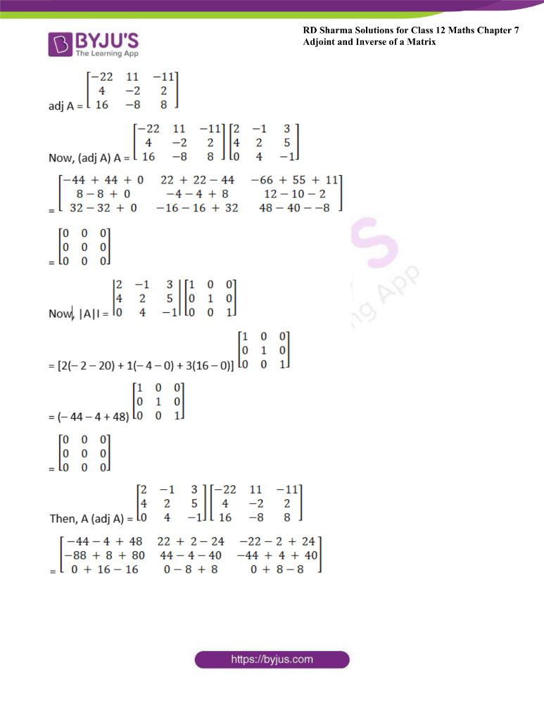 RD Sharma Class 12 Maths Solutions Chapter 7 Adjoint And Inverse Of A Matrix Exercise 7.1 9