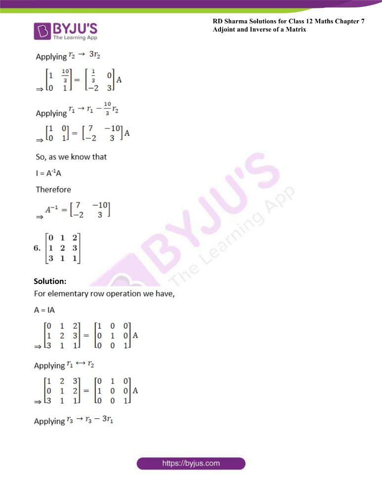 RD Sharma Class 12 Maths Solutions Chapter 7 Adjoint And Inverse Of A Matrix Exercise 7.2 5