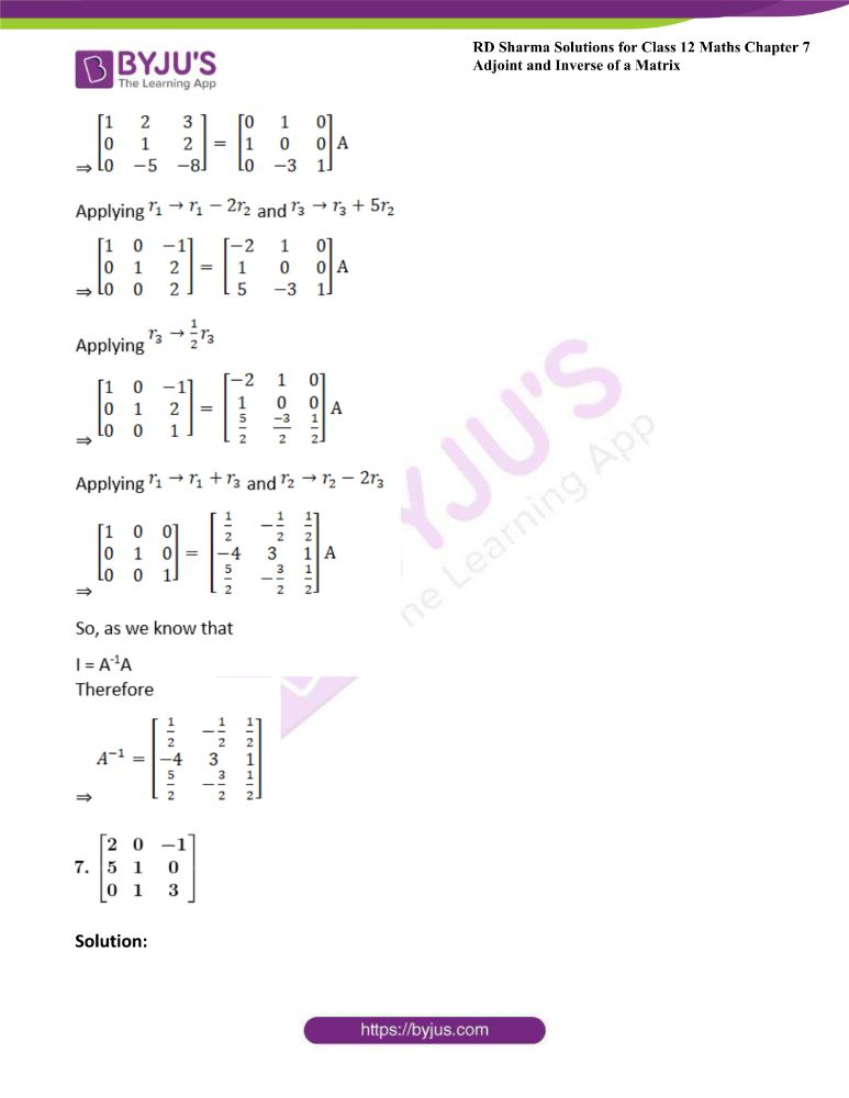RD Sharma Class 12 Maths Solutions Chapter 7 Adjoint And Inverse Of A Matrix Exercise 7.2 6