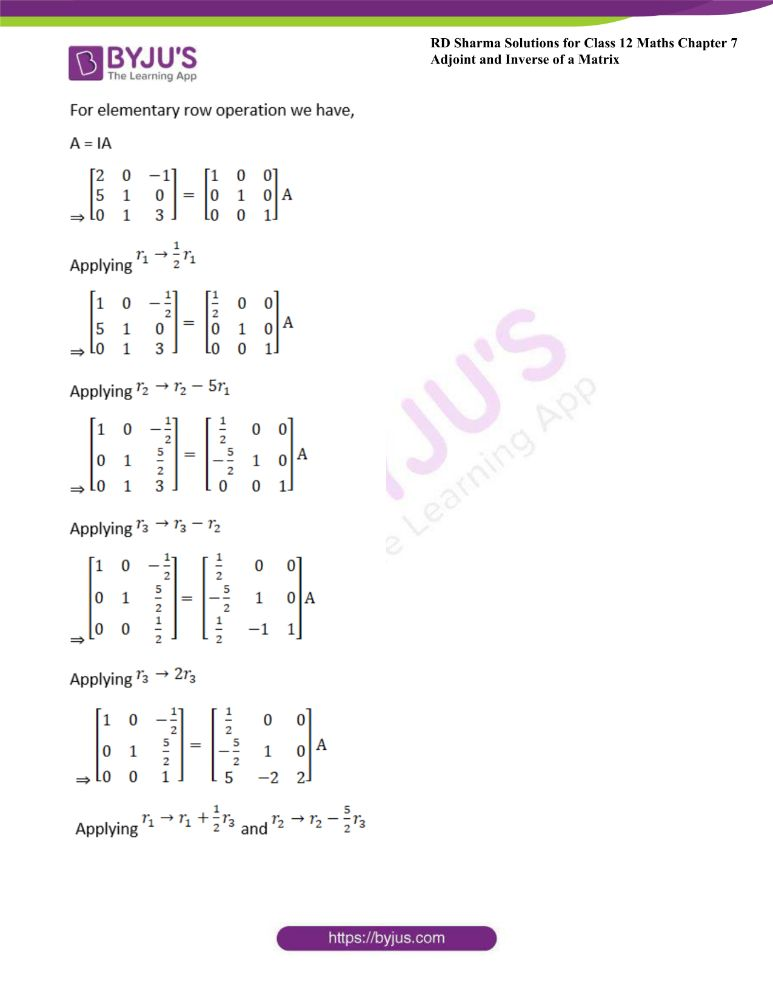 RD Sharma Class 12 Maths Solutions Chapter 7 Adjoint And Inverse Of A Matrix Exercise 7.2 7