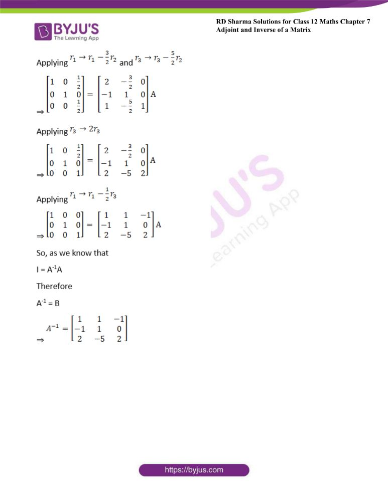 RD Sharma Class 12 Maths Solutions Chapter 7 Adjoint And Inverse Of A Matrix Exercise 7.2 9