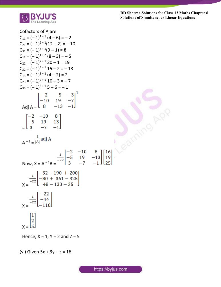 RD Sharma Class 12 Maths Solutions Chapter 8 Solutions Of Simultaneous Linear Equations 15