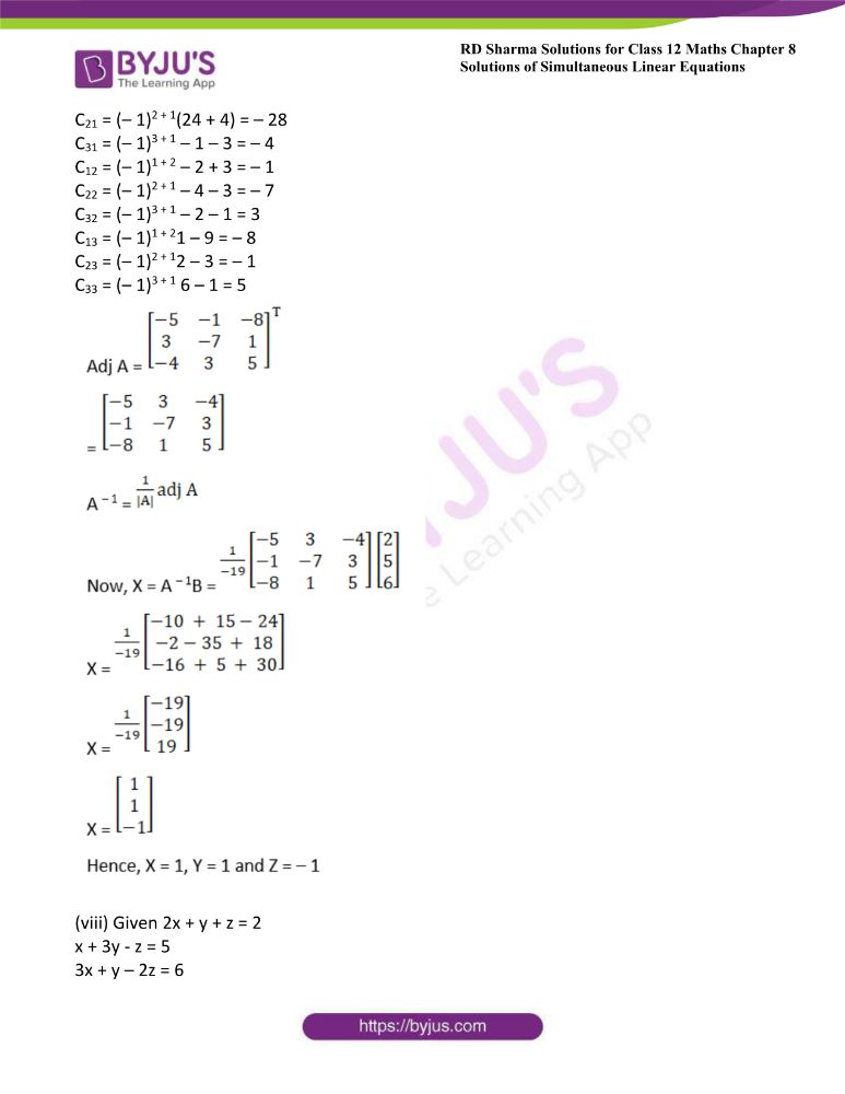 RD Sharma Class 12 Maths Solutions Chapter 8 Solutions Of Simultaneous Linear Equations 18