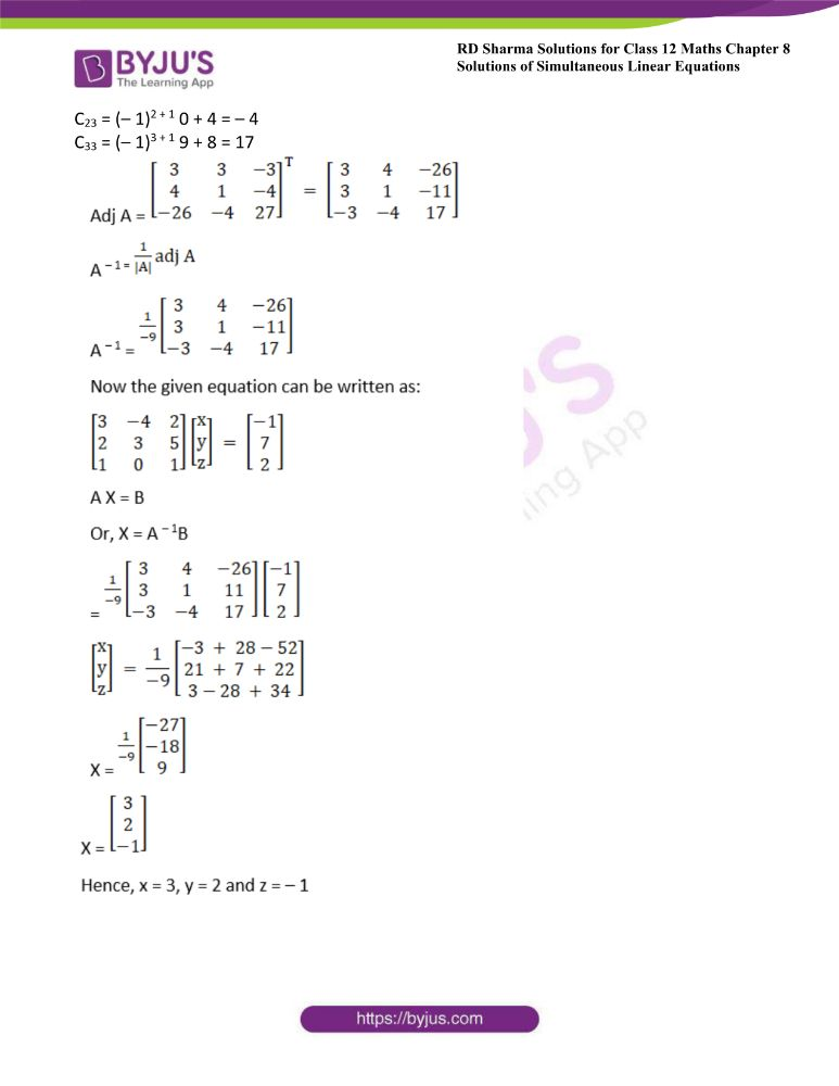 RD Sharma Class 12 Maths Solutions Chapter 8 Solutions Of Simultaneous Linear Equations 48