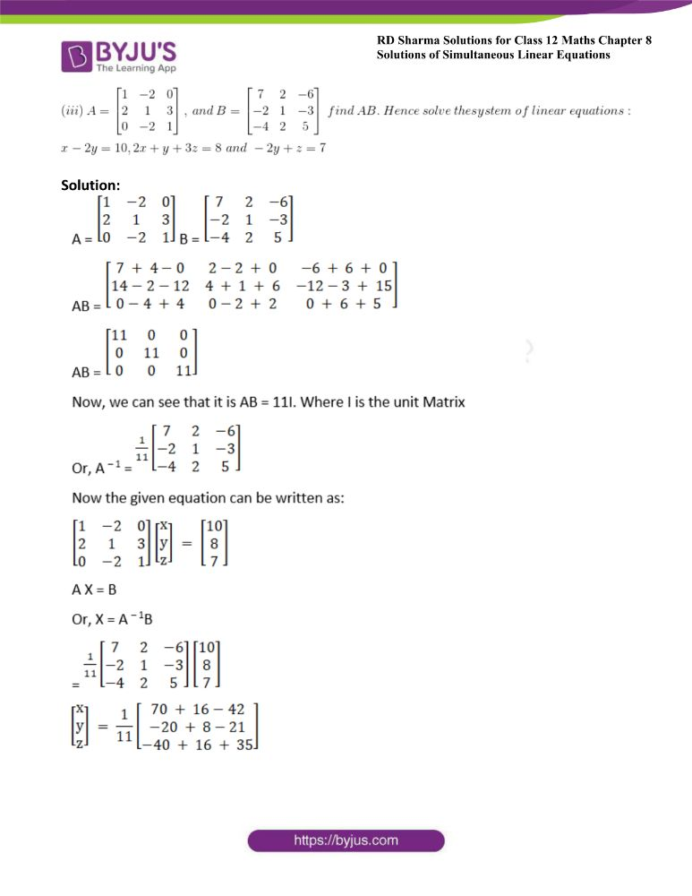RD Sharma Class 12 Maths Solutions Chapter 8 Solutions Of Simultaneous Linear Equations 49
