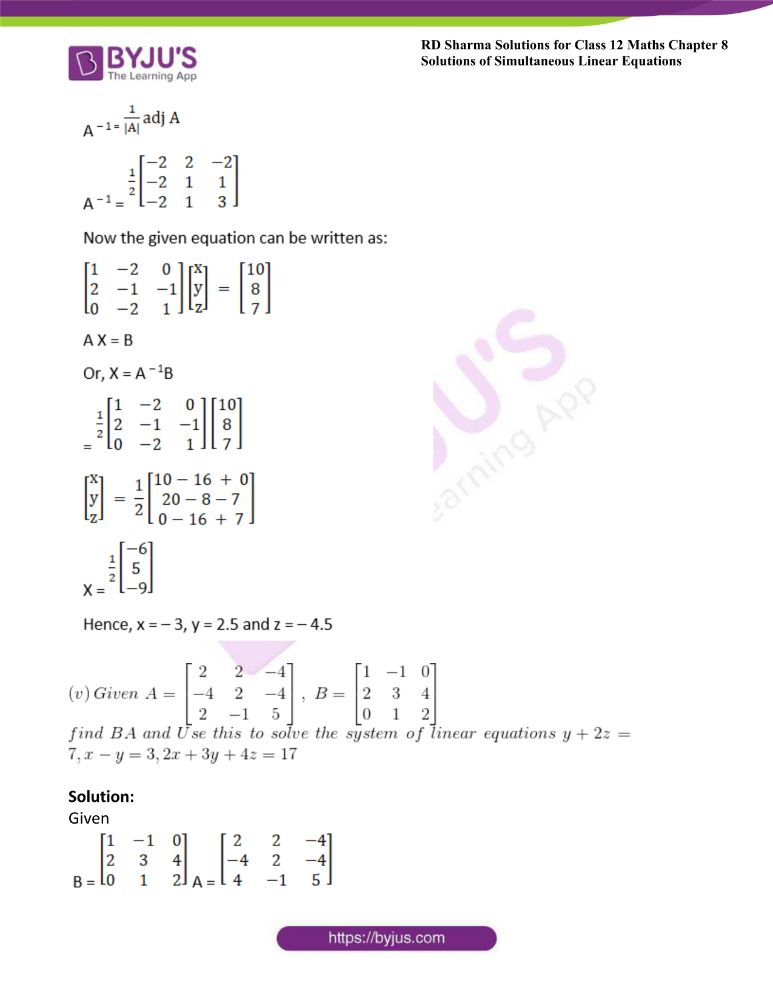 RD Sharma Class 12 Maths Solutions Chapter 8 Solutions Of Simultaneous Linear Equations 51