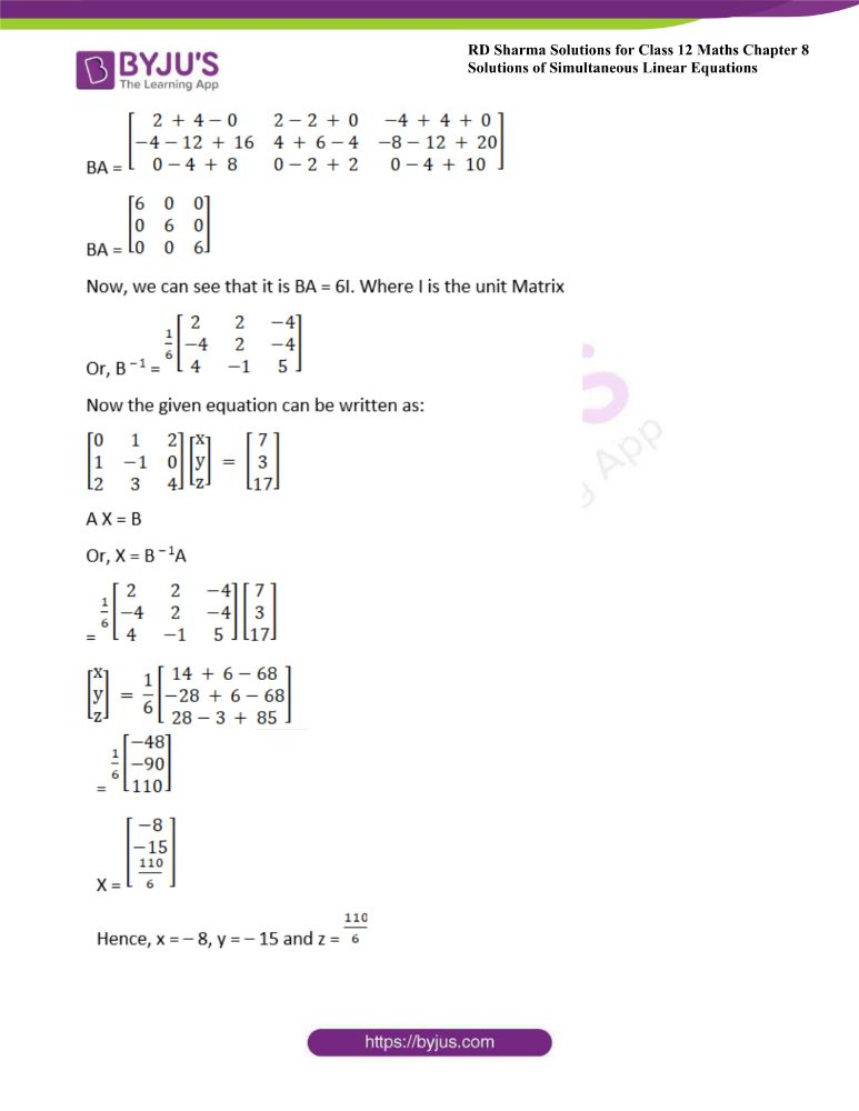 RD Sharma Class 12 Maths Solutions Chapter 8 Solutions Of Simultaneous Linear Equations 52