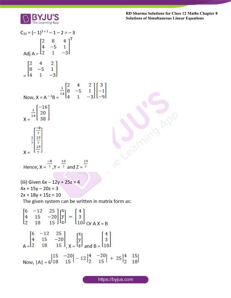 RD Sharma Class 12 Maths Solutions Chapter 8 Solutions Of Simultaneous Linear Equations Ex8.1 11