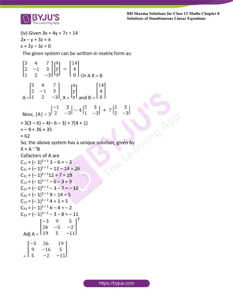 RD Sharma Class 12 Maths Solutions Chapter 8 Solutions Of Simultaneous Linear Equations Ex8.1 13