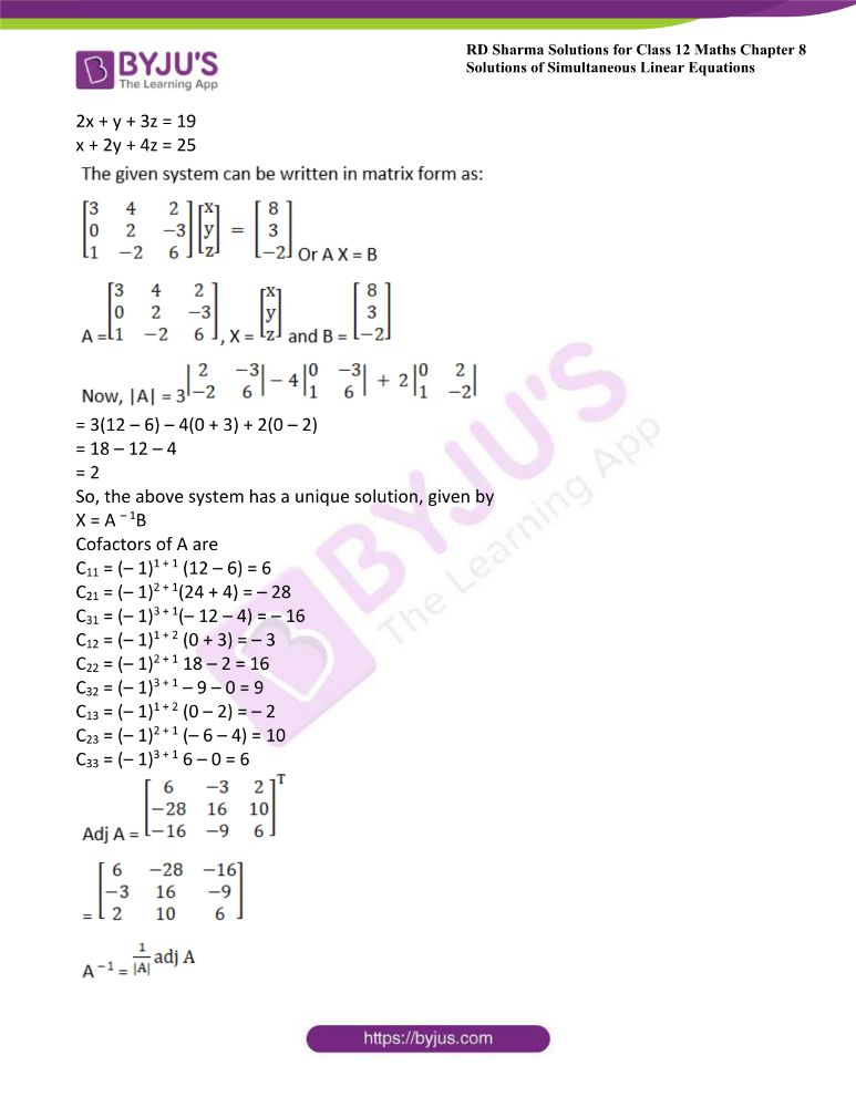 RD Sharma Class 12 Maths Solutions Chapter 8 Solutions Of Simultaneous Linear Equations Ex8.1 16
