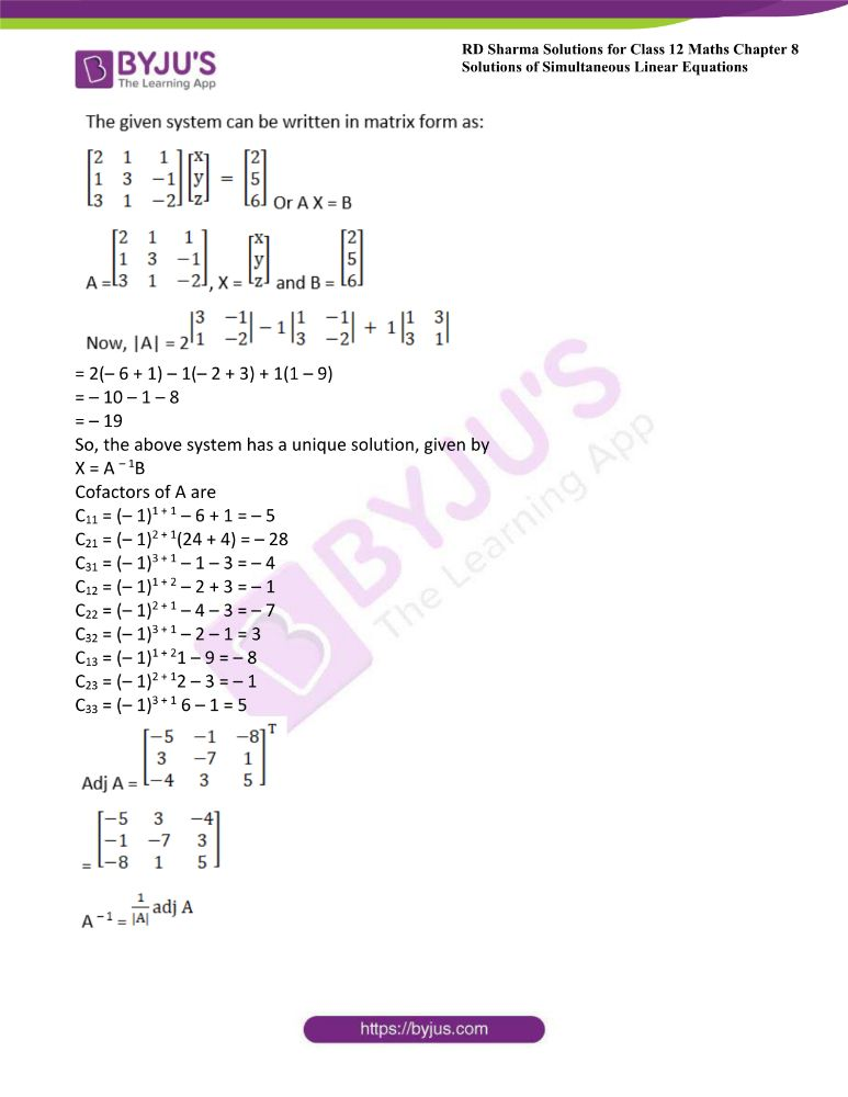 RD Sharma Class 12 Maths Solutions Chapter 8 Solutions Of Simultaneous Linear Equations Ex8.1 19