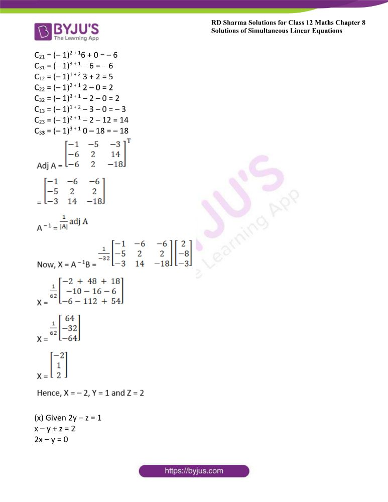 RD Sharma Class 12 Maths Solutions Chapter 8 Solutions Of Simultaneous Linear Equations Ex8.1 21