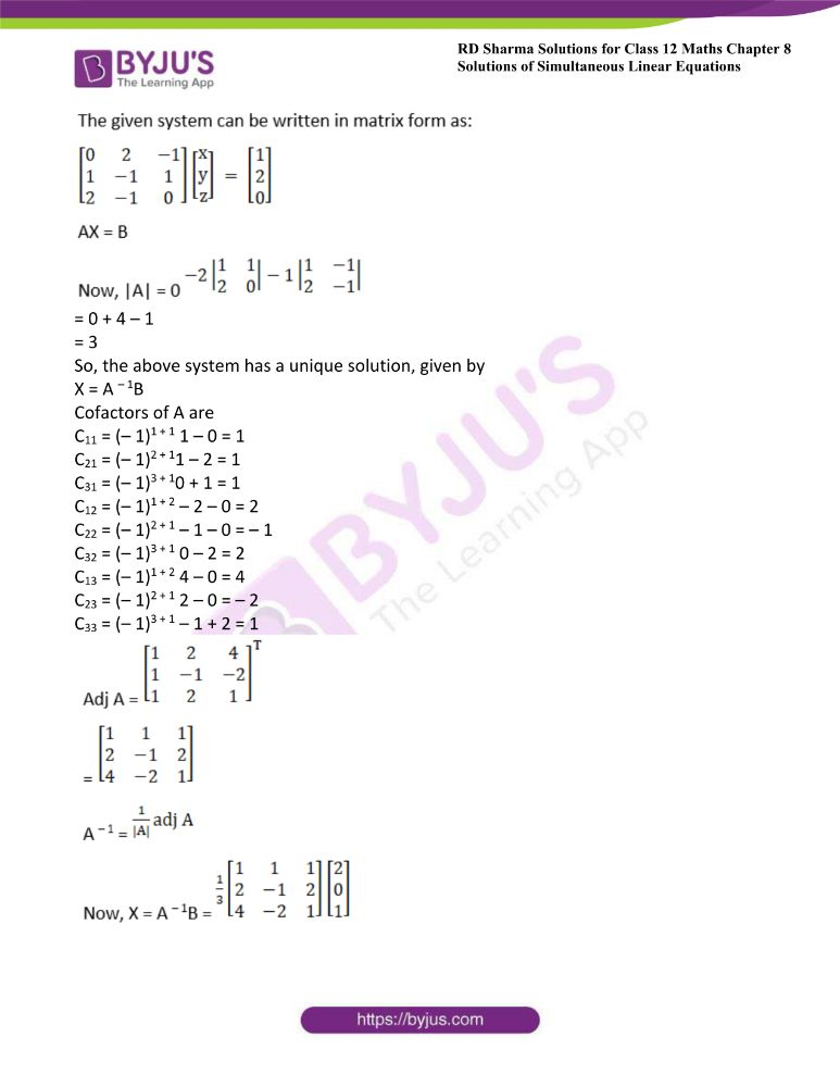 RD Sharma Class 12 Maths Solutions Chapter 8 Solutions Of Simultaneous Linear Equations Ex8.1 22