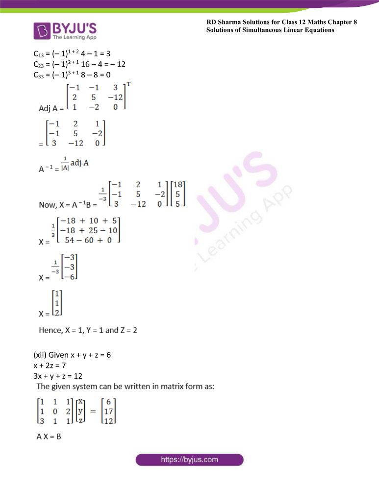 RD Sharma Class 12 Maths Solutions Chapter 8 Solutions Of Simultaneous Linear Equations Ex8.1 24