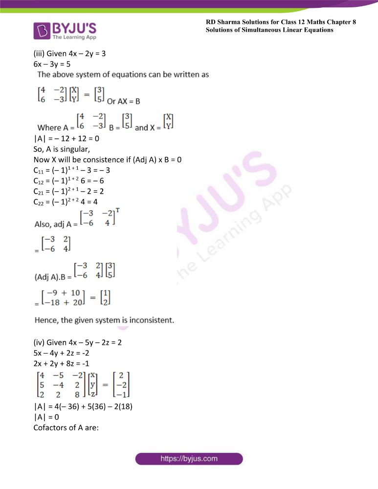 RD Sharma Class 12 Maths Solutions Chapter 8 Solutions Of Simultaneous Linear Equations Ex8.1 38