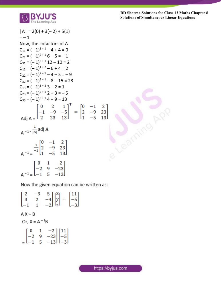 RD Sharma Class 12 Maths Solutions Chapter 8 Solutions Of Simultaneous Linear Equations Ex8.1 43