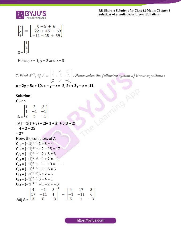 RD Sharma Class 12 Maths Solutions Chapter 8 Solutions Of Simultaneous Linear Equations Ex8.1 44