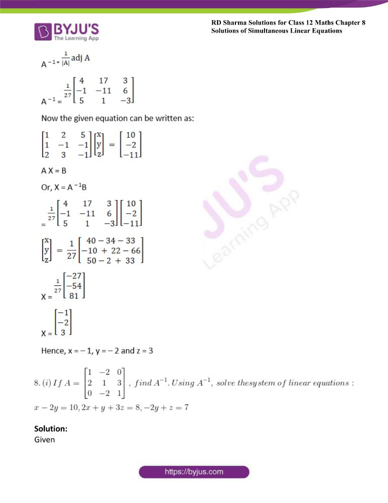RD Sharma Class 12 Maths Solutions Chapter 8 Solutions Of Simultaneous Linear Equations Ex8.1 45