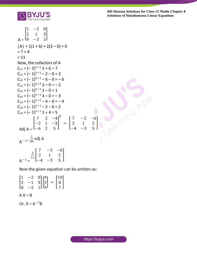 RD Sharma Class 12 Maths Solutions Chapter 8 Solutions Of Simultaneous Linear Equations Ex8.1 46