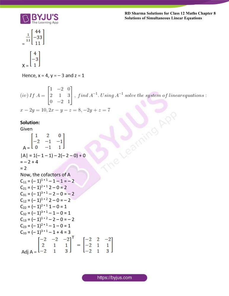 RD Sharma Class 12 Maths Solutions Chapter 8 Solutions Of Simultaneous Linear Equations Ex8.1 50