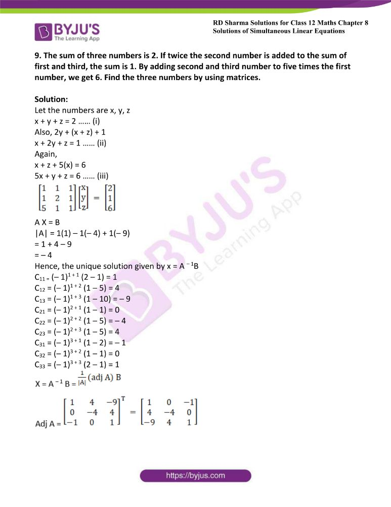 RD Sharma Class 12 Maths Solutions Chapter 8 Solutions Of Simultaneous Linear Equations Ex8.1 53