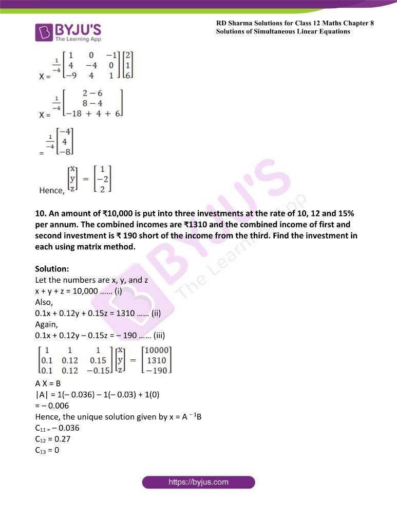 RD Sharma Class 12 Maths Solutions Chapter 8 Solutions Of Simultaneous Linear Equations Ex8.1 54