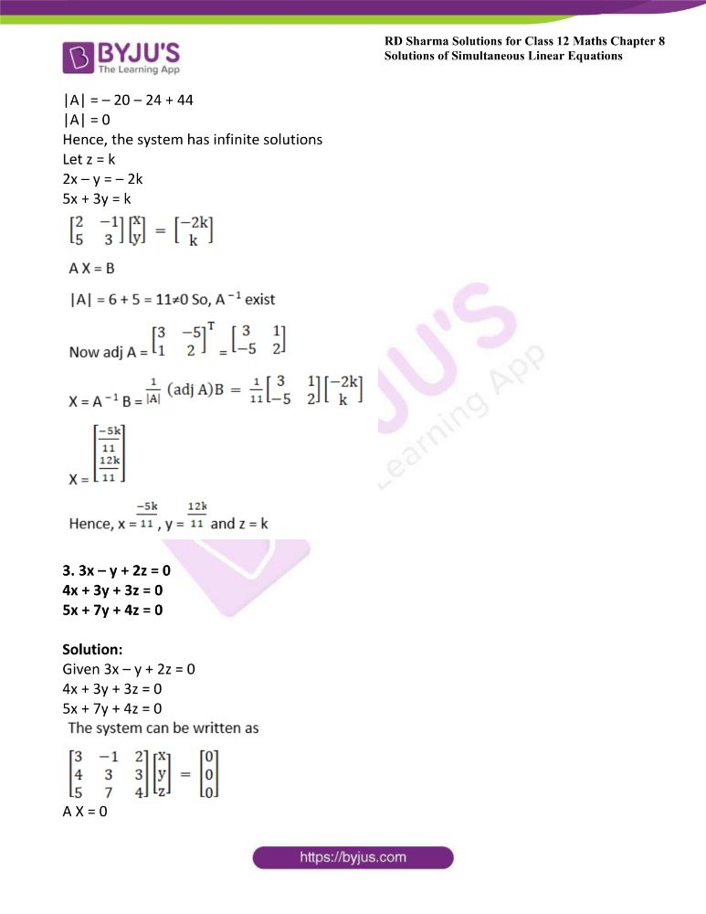 RD Sharma Class 12 Maths Solutions Chapter 8 Solutions Of Simultaneous Linear Equations Ex8.2 1