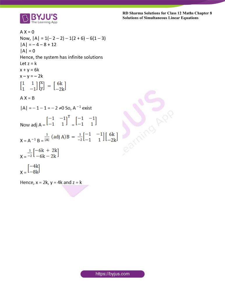 RD Sharma Class 12 Maths Solutions Chapter 8 Solutions Of Simultaneous Linear Equations Ex8.2 3