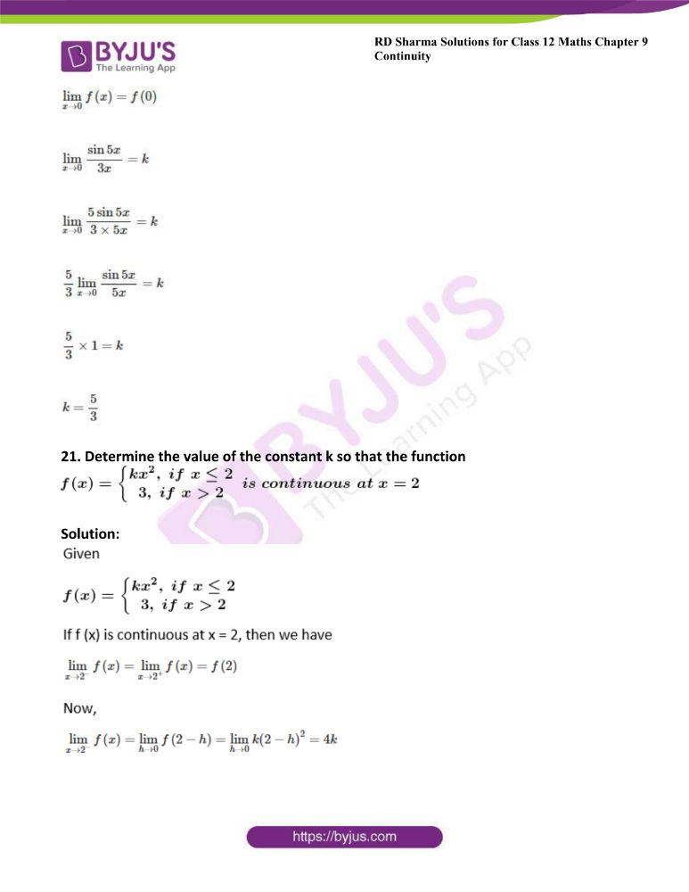 RD Sharma Class 12 Maths Solutions Chapter 9 Continuity 24